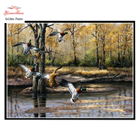 Needlework DIY14CT Unprinted Cross Stitch Embroidery The Birds Free Flying Home Counted White Canvas Cross Stitching