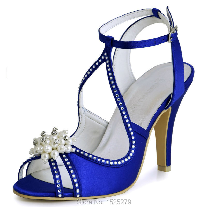 EP11058 Blue Woman Sandals Peep Toe Satin Rhinestones Pearl Buckle Straps Stiletto Heel Bride Bridesmaids Prom Women Sandals