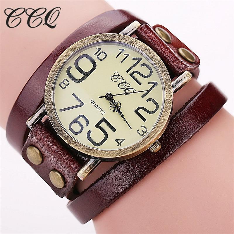 CCQ Luxury Brand Vintage Cow Leather Bracelet font b Watch b font Fashion Women Wristwatch Ladies