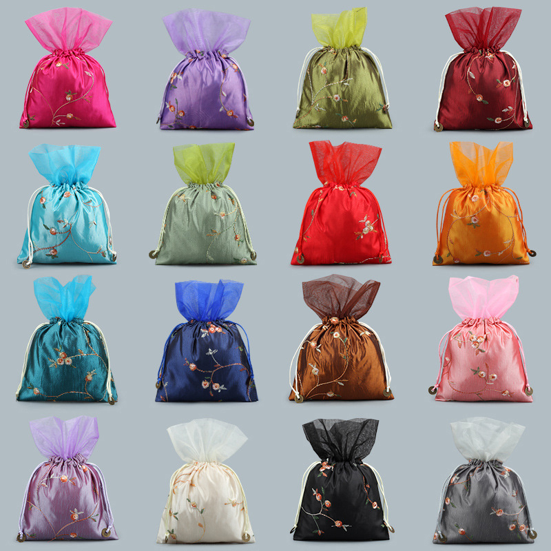 Large Chinese Silk Satin Fabric Jewelry Gift Pouch Drawstring Necklace Bangle Bracelet Travel Storage Bag Gauze Packaging Bags