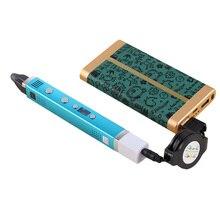 Myriwell 1.75mm ABS/PLA DIY 3D Pen LED Screen,USB Charging 3D Printing Pen+100M Filament Creative Toy Gift For Kids Design