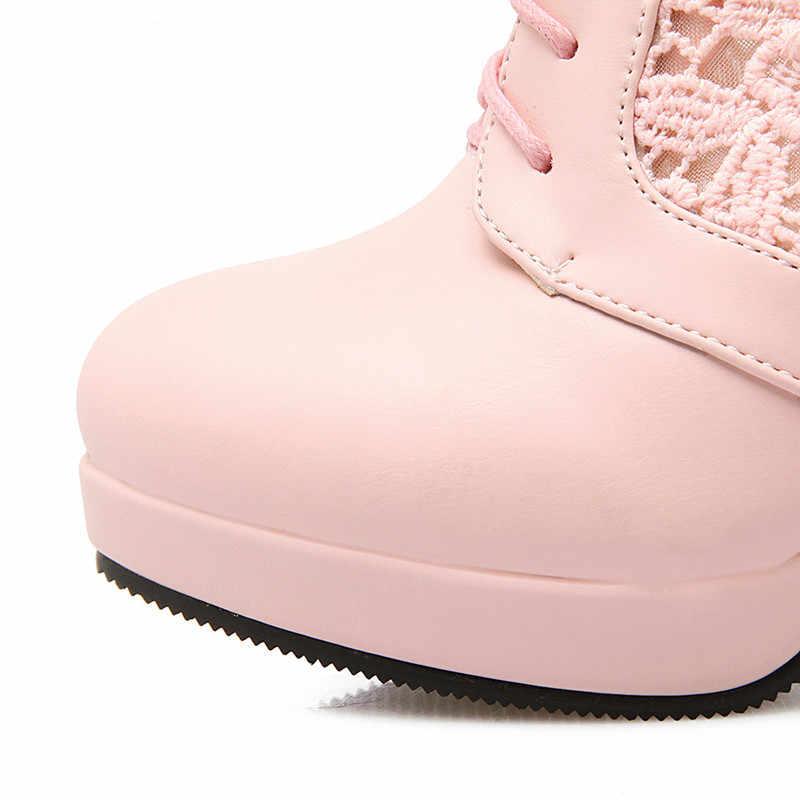 2018 primavera otoño 2018 bombas de mujer punta redonda lado hueco malla zapatos de cuero señoras Sexy alto tacón de talla grande 34-43