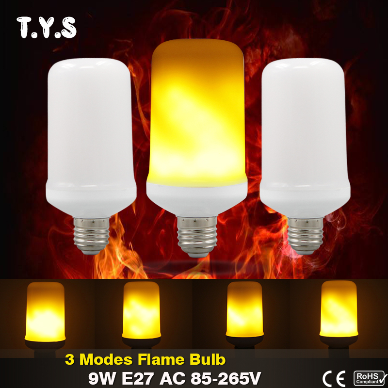 LED lamp Flame Effect Fire Light Bulb 9W E27 2835 SMD AC 85-265V Vintage Atmosphere Flickering Emulation Fake Flame Lights Lamp lan mu 220v flame fire light led bulb