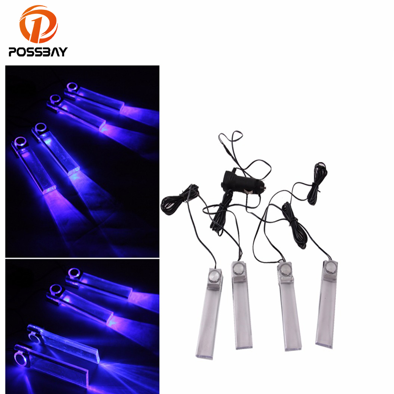 POSSBAY Universal 4 Pieces Car Auto Automobile Vehicle Interior Atmosphere Lights Blue Lamp DIY Decorative Car Styling