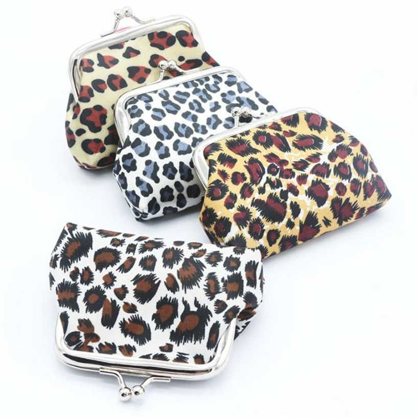 Aelicy Wanita Dompet Koin Kulit Kualitas Tinggi Retro Vintage Leopard Mini Pengait Kecil Tas Dompet Gantungan Kunci Tas Penyimpanan