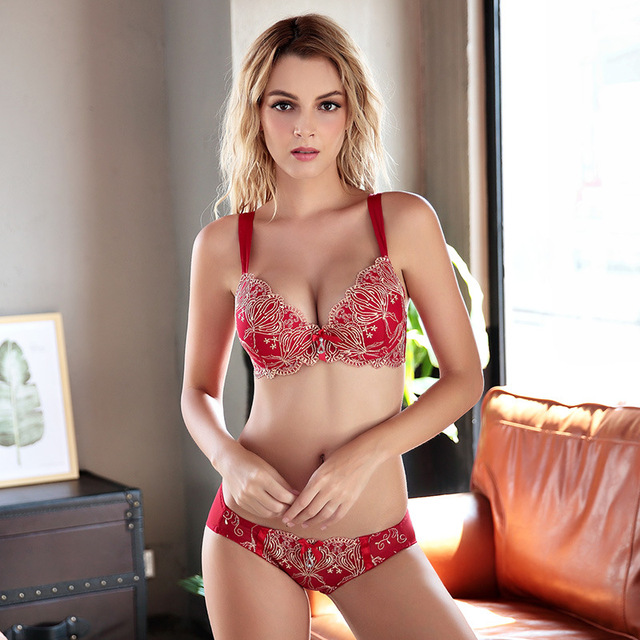 91fa97554 Bra All-match High Quality Solid Color Girl Intimates Floral Print Cotton  Womens Bra Underwear Set Breasted Lace Women Bras Sets