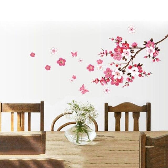 nieuwe 1 st kersenbloesem bloem muurstickers waterdichte woonkamer slaapkamer muurdecoratie decors muurschilderingen poster muursticker