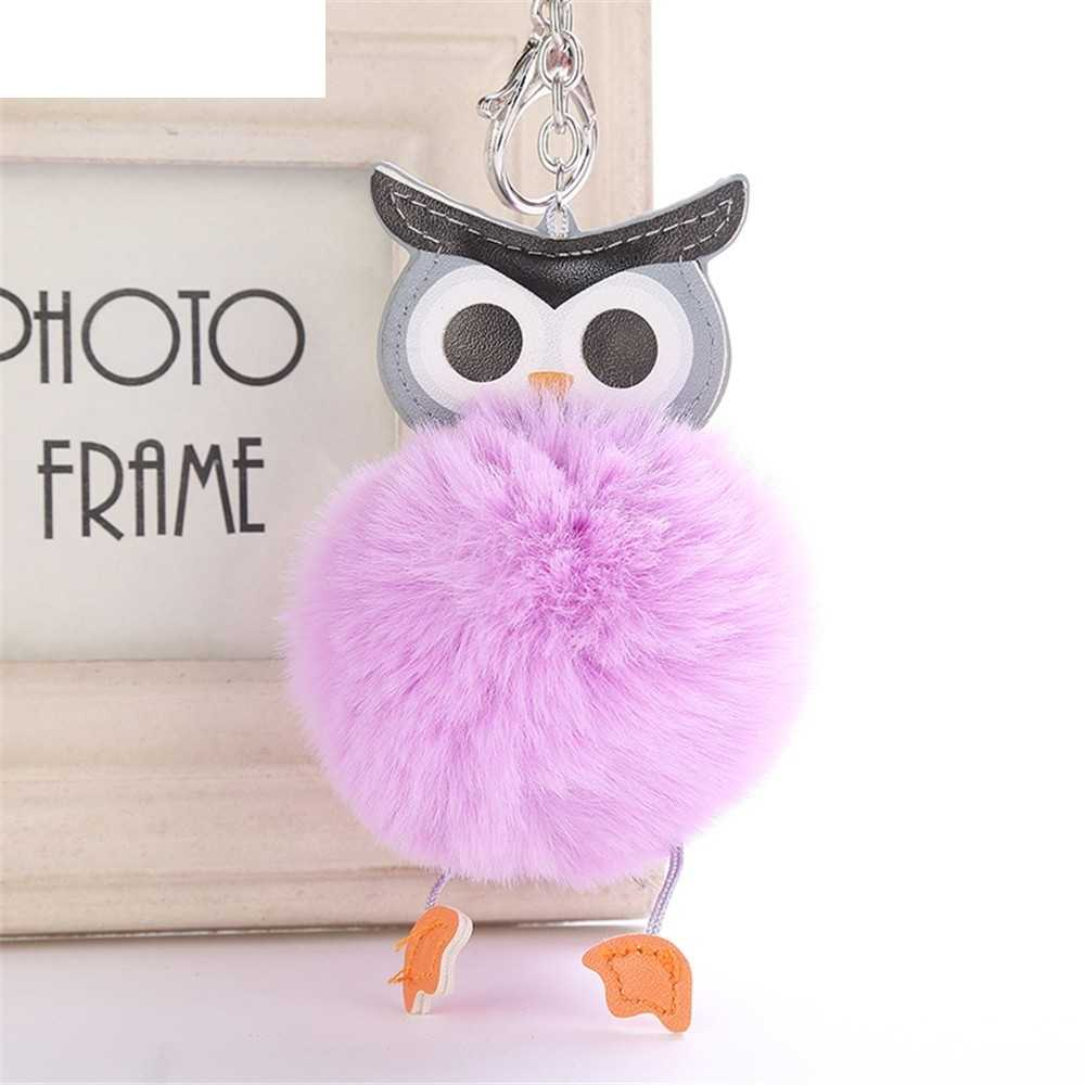 OTOKY Hot Sale 1pc 8CM Cute Owl Keychain Pendant Women Key Ring Holder Pompoms Key Chains   Mar16