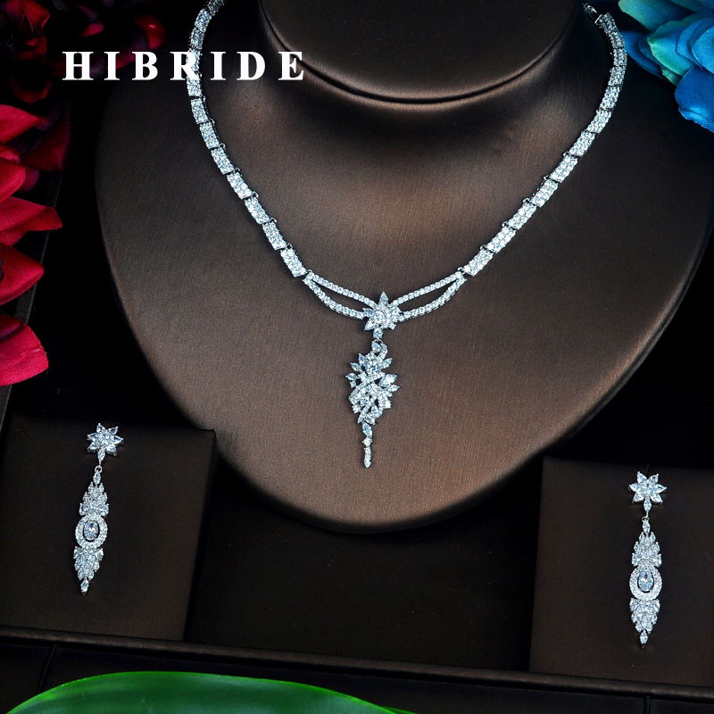 HIBRIDE Austrian Crystal Marquise Cut Cubic Zirconia Women Jewelry Sets Earring Set Wedding Bride Dress Accessories N-358HIBRIDE Austrian Crystal Marquise Cut Cubic Zirconia Women Jewelry Sets Earring Set Wedding Bride Dress Accessories N-358