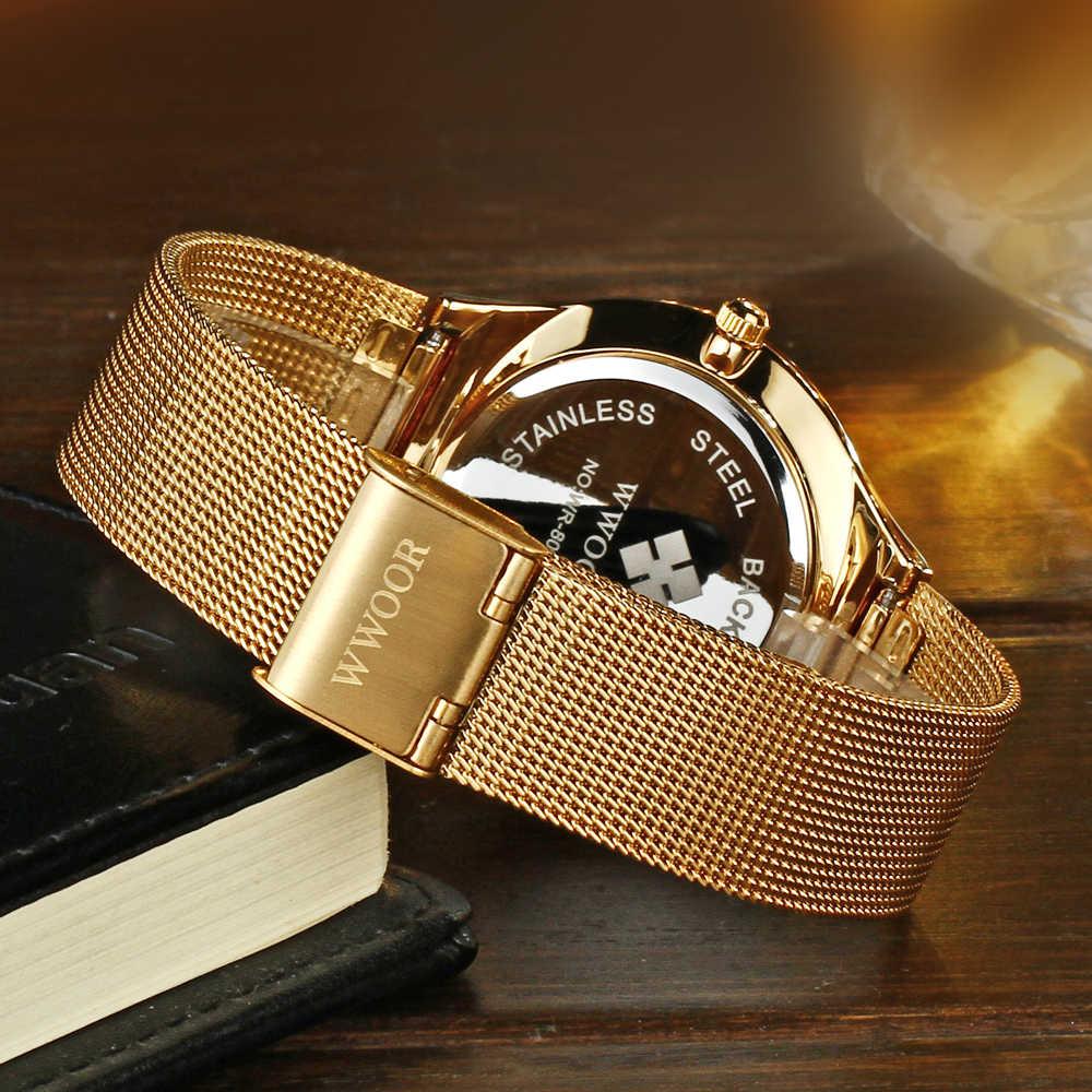 WWOOR דק Mens שעונים למעלה מותג יוקרה ספורט שעון נירוסטה רשת שעונים עמיד למים קוורץ שעון גברים זהב שעון