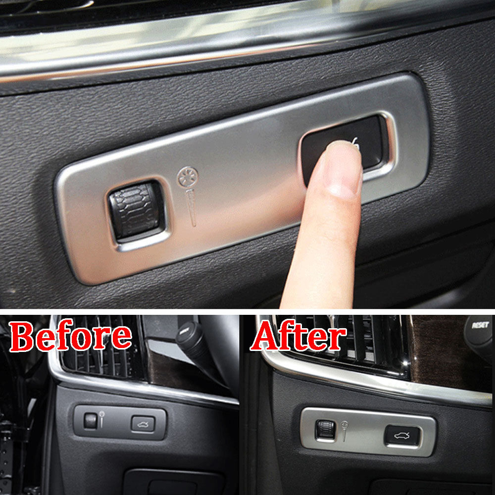 For <font><b>Volvo</b></font> <font><b>XC90</b></font> 2015-2018/XC60 2018 1pc Matte Silver Head Light Lamp Switch Cover Frame Interior Trim Decorative <font><b>Accessories</b></font> image