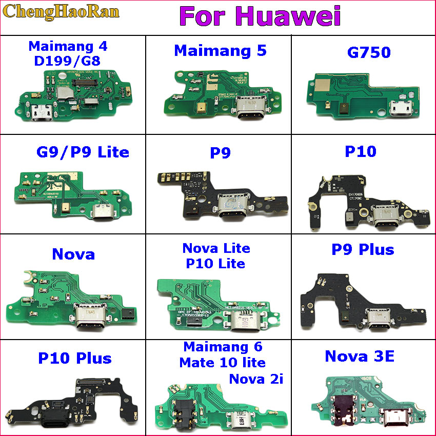 ChengHaoRan USB Charging Port Dock Plug Connector Flex Cable For Huawei Maimang 4 5 6 G750 G9 P9 Lite P10 Plus Nova 3E Nova 2i