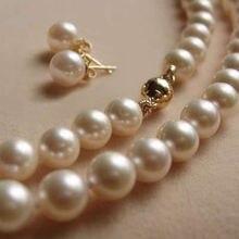 """Caliente venta corrió envío gratis sistemas de la joyería de sistemas de la joyería de nigeria perlas collares 8 mm Akoya collar de perlas + earring Aaa 18 """""""