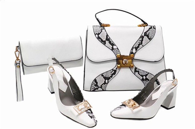 White Hot selling Italian designs Shoes and Bag Set in high quality for party banquet italian visual phrase book