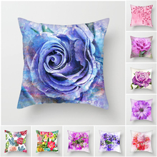 Fuwatacchi Colorful Floral Printed Cushion Cover Flower Pillows Decor Bedroom Room Decoration Square Linen Pillowcase