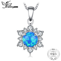 JewelryPalace 0.6ct Utworzono Czarny Opale Księżna Diana Halo Kwiat Wisiorek Naszyjnik 925 Sterling Silver 45 cm Pole Łańcucha Biżuteria
