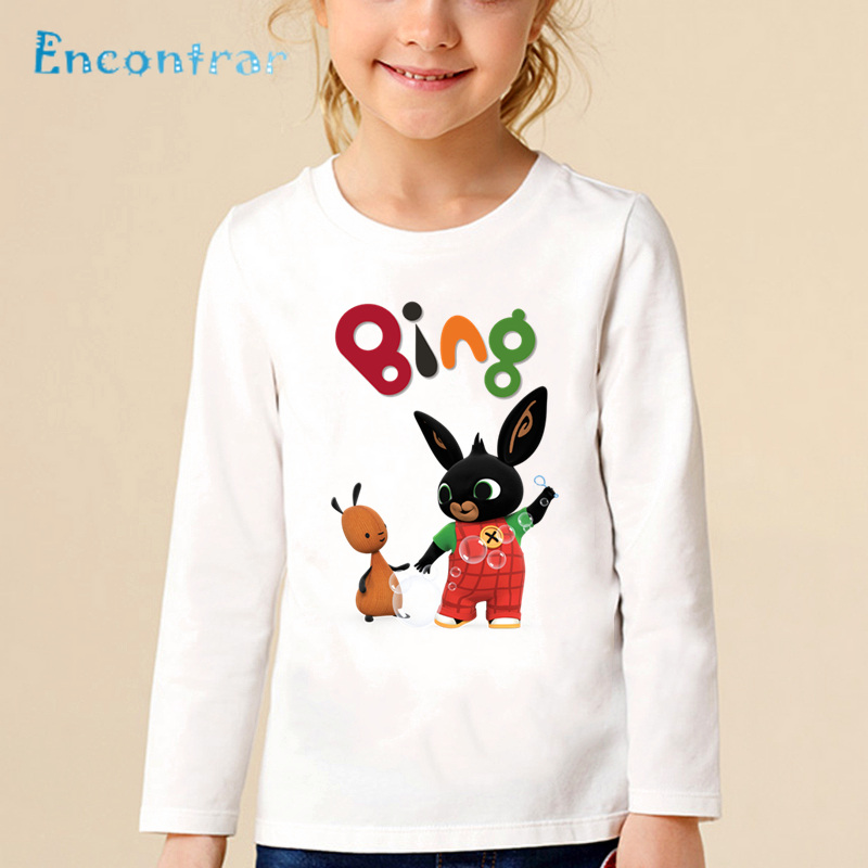 Cartoon Print Bing Rabbit/Bunny Children Funny T shirt Kids Long Sleeve Tops Baby Boys/Girls Cute T-shirt,LKP5169 leon malin fin del presidente agencia amur