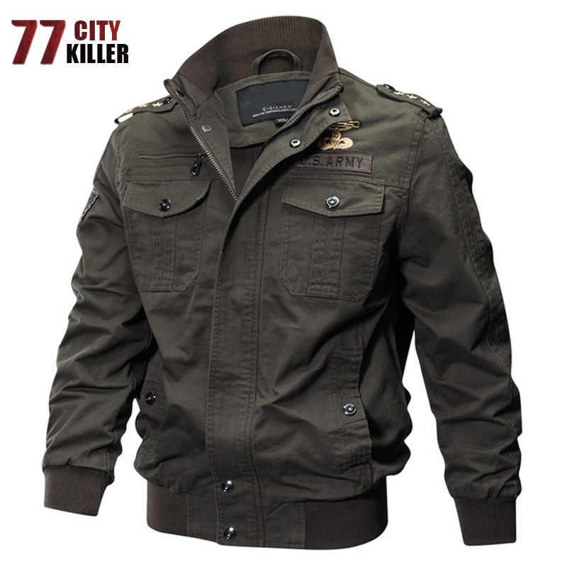 Новинка 2018, мужские военные летные куртки, хлопковое пальто-бомбер, тактическая армейская мужская повседневная куртка, авиационная летная куртка, большие размеры, M-6XL