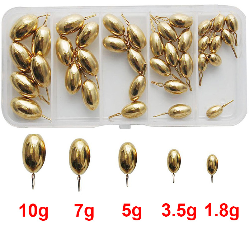 41pcs 5 Sizes Brass Fishing Sinker For Drop Shot Rigs Carp Fishing Tadpole Shape Casting Lead Weights Sinkers Set With Box