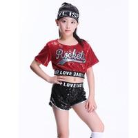 Children's Jazz Dance Girl Modern Cheerleading Costumes Hip Hop Boy Girls Top And Pants Sequins Performance Street Dance Set