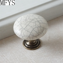 Ceramic Knobs / Kitchen Cabinet Dresser Drawer  Handles White Crackle Antique Bronze Furniture Door Hardware Porcelain