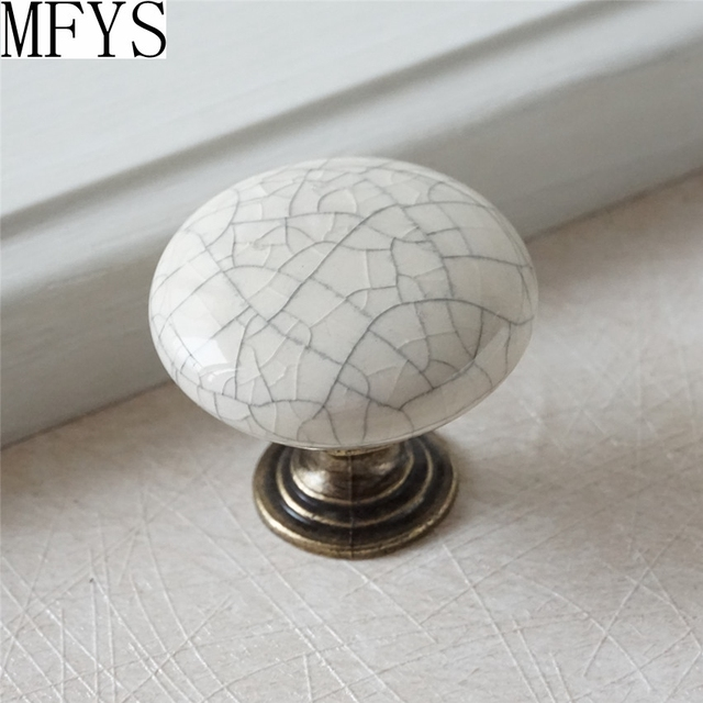 Ceramic Knobs / Kitchen Cabinet Knobs Dresser Drawer Handles White Crackle  Antique Bronze Furniture Door Hardware
