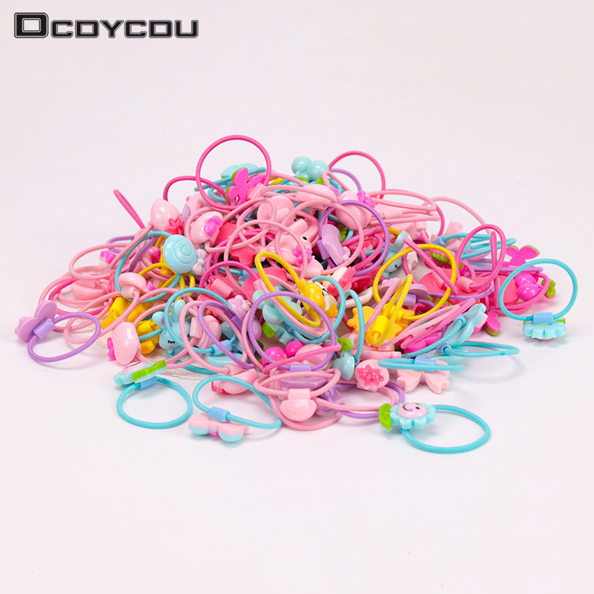 10 PCS Fashionable Cartoon Rubber Hair Ring Flower Fruit Animal Hair Ring Children Cute Hair Accessories Girl Headdress Jewelry in Hair Accessories from Mother Kids