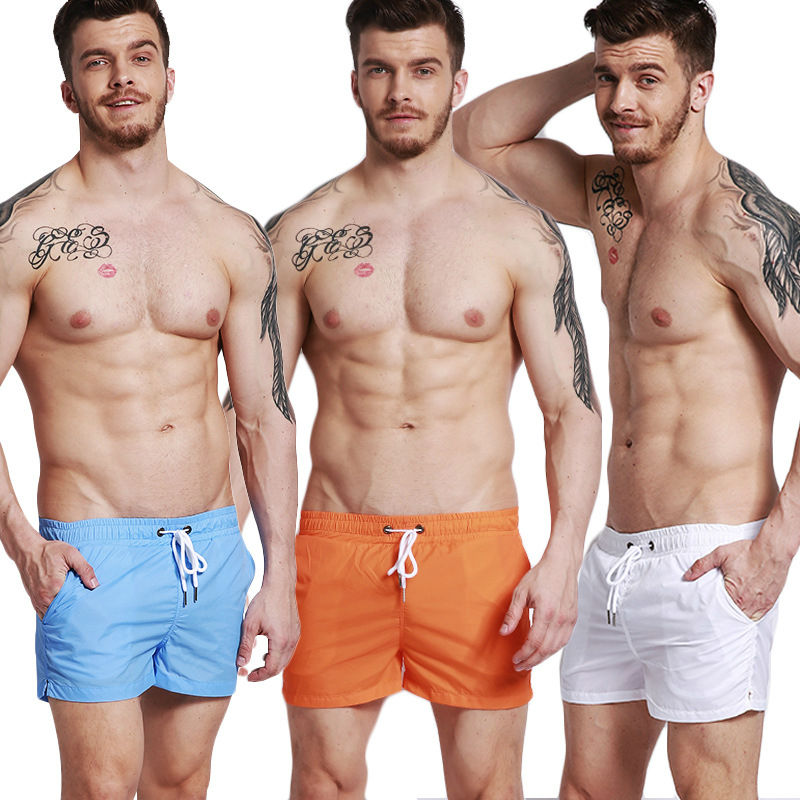 2017 Newest Men's Board Shorts Swim Trunks Solid Color Loose Sand Beach Trousers Surfing Shorts Maldives Holiday Beach Pants