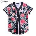 QSuper Brand New 3D Flor Impressão Legal Engraçado camisas De Beisebol t 9 Estilos Jérsei De Basebol Das Mulheres Dos Homens Da Marca T Camisas de Manga Curta