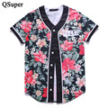 QSuper Brand New 3D Flower Print Funny Cool Baseball t shirts 9 Styles Short Sleeve Baseball Jersey Men Women Brand T Shirts