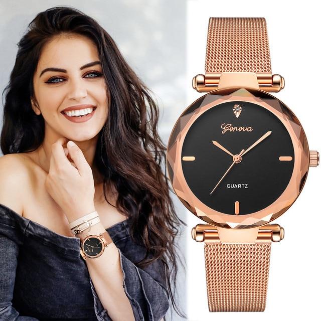 2018 лучшие продажи женские часы Geneva модные классические горячие продажи Роскошные Аналоговые кварцевые наручные часы из нержавеющей стали relogio feminino