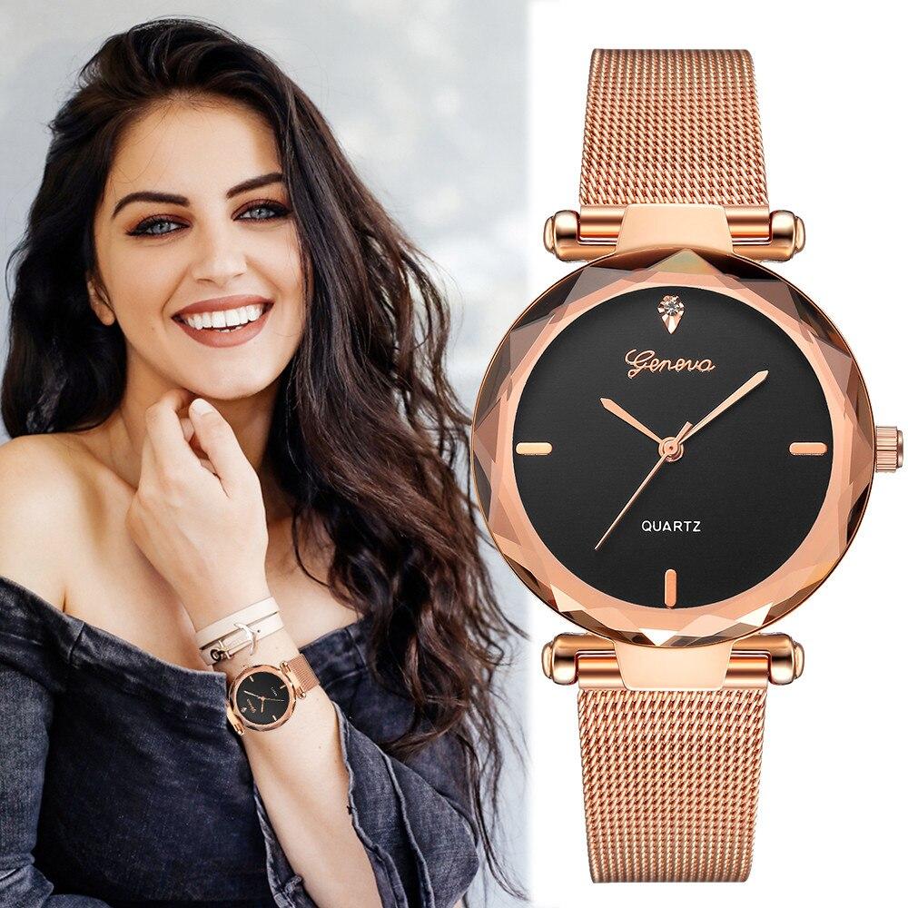 2018 beste Verkauf Frauen Uhren Genf Fashion Classic Hot Verkauf Luxus Edelstahl Analog Quarz Armbanduhren relogio feminino
