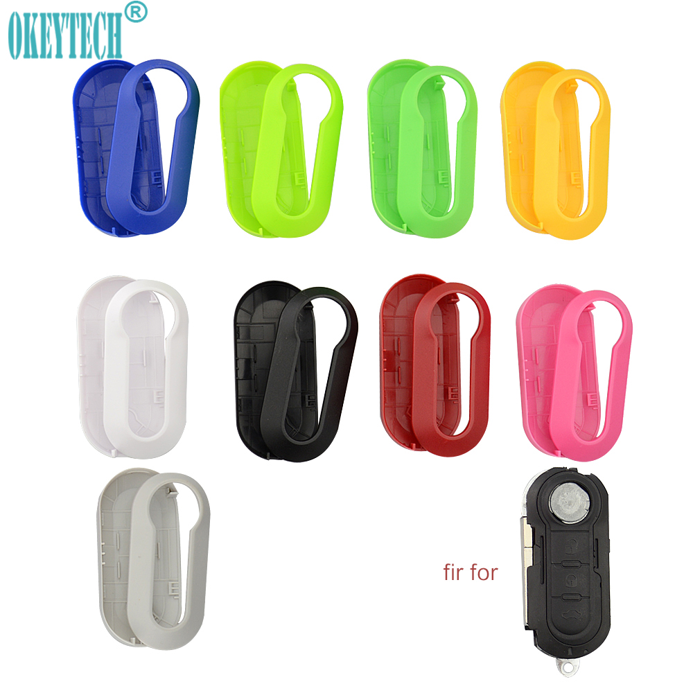 OkeyTech Remote Car Key Shell Cover Replacement Protective Case 3 Buttons Colorful For Fiat 500 Panda Punto Bravo Flip Folding