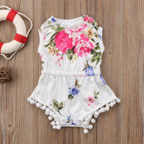 Newborn Toddler Baby Girl Floral Romper Jumpsuit Tassel OnePiece Bodysuit Outfit