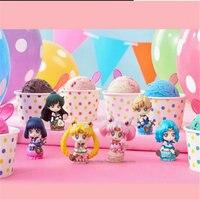 Japan 5cm Anime Sailor Moon Mars Jupiter Venus Mercury Keychains Action Figures Toys Dolls 6pcs/set Model Collection Q Version