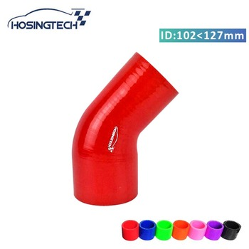 HOSINGTECH- high quality 5 to 4(127mm-102mm) 4ply red 45degree silicone elbow air intake hose