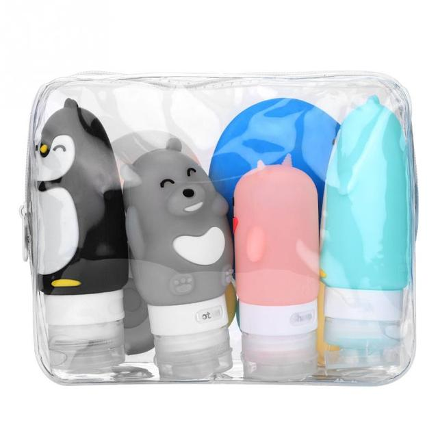 10pcs Portable Silicon Travel Bottles Set Cosmetic Container Carry-on Cream Jars Cute Cartoon Make up Bottles Container Portable