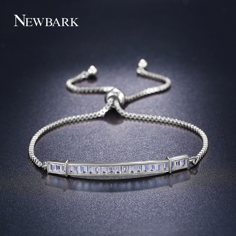 Newbark Simple OL Style Bracelet Paved Cubic Zirconia Charm Bracelets & Bangles Rose Gold Color Jewelry For Women Wedding Gift