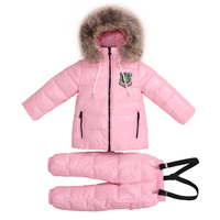 2 8T Russian Children Real Fur Warm Clothing Sets Girls Snowsuit Girl Winter Down Coat Kids Flowers Ski Suit Chothes