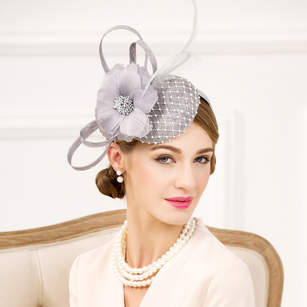 Aliexpress.com : Buy Feather Flower Cocktail Hat Rhinestone Flax Net ...