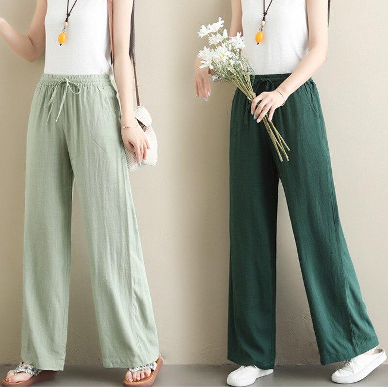 #0661 Casual Straight   Wide     Leg     Pants   Women Thin Drawstring Elastic Waist Loose Cotton Linen   Pants   Female Full Length Plus Size