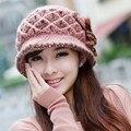 Nueva marca de invierno gorros sombrero cuenca cubo de lana femenino de las mujeres hilo sombrero hecho punto sombrero de las mujeres del otoño y el invierno femenina térmica cap