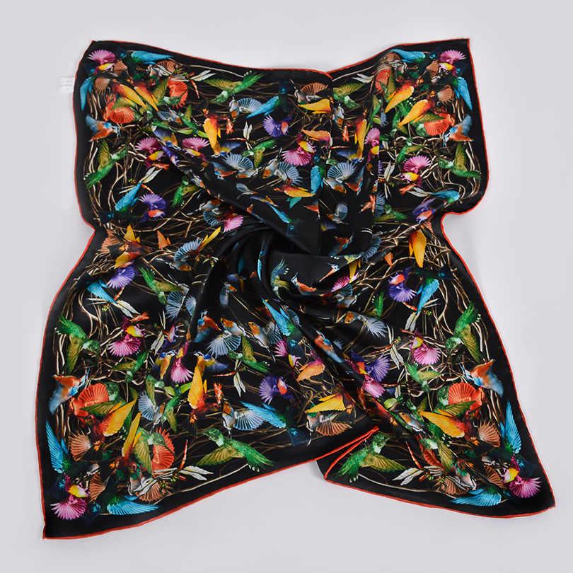 [BYSIFA] Schwarz Und Weiß 100% Seide Schal Hijab Frauen Marke Vogel Design Platz Schals Schals 68*68 cm Herbst Winter Hals Schals