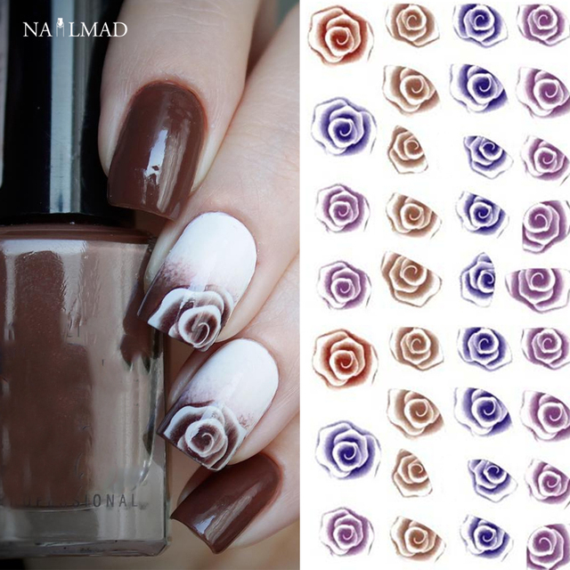 1 sheet nailmad gradient rose nail water decals charming fantastic 1 sheet nailmad gradient rose nail water decals charming fantastic rose flower transfer stickers nail art prinsesfo Gallery