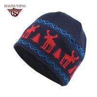 Nowa Moda Zima Zwierzę Unisex Czapki Z Dzianiny Czapki Ciepłe Slouch Kapelusz Maski Gorro Skullies czapki Hip-Hop Snap Święta Bożego Narodzenia