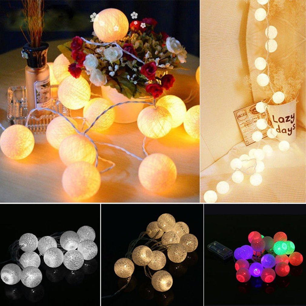 1.3m 10 LEDs Cotton Ball Copper Wire Fairy String Light Battery Operated Night Light For Xmas Festival Wedding Party Decor