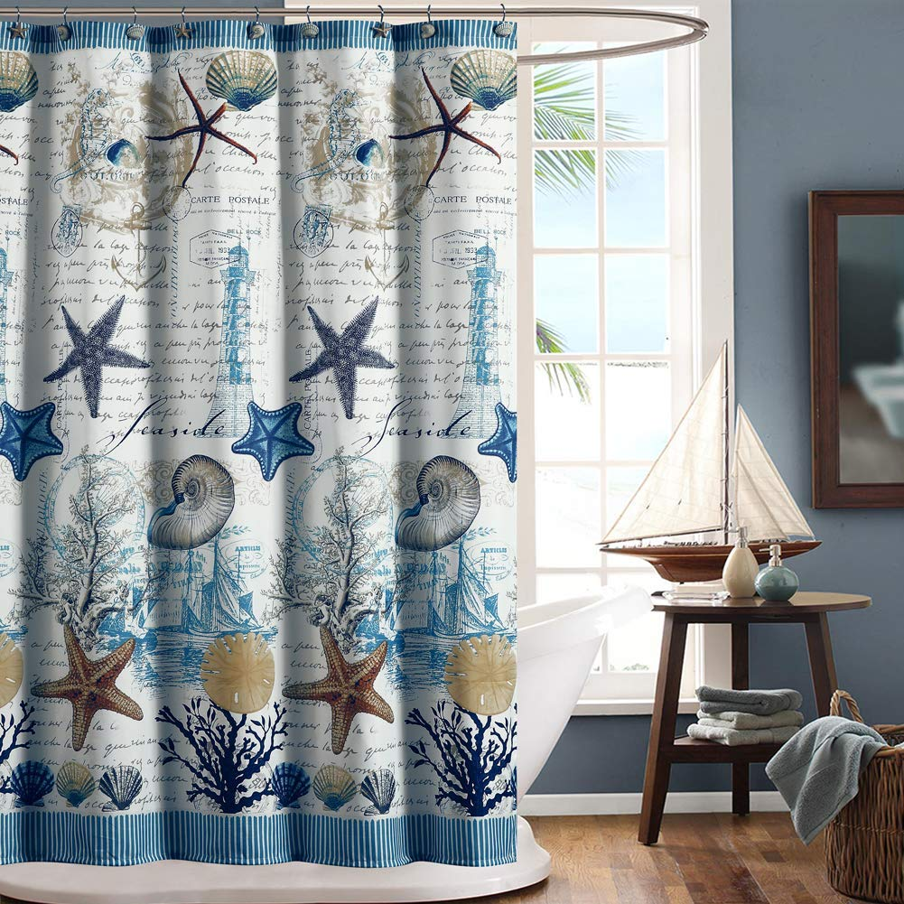 Under The Sea Blue Seashell Polyester Fabric Shower CurtainMildew Resistant Curtains Bathroom
