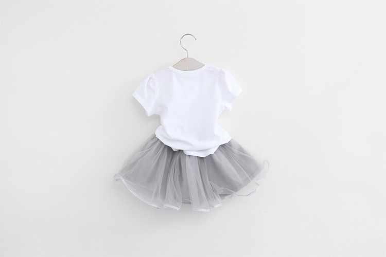 Disney Girls ชุด 2019 ฤดูร้อนใหม่เด็กทารกเสื้อผ้าชุดแมวการ์ตูน T-Shirt + Bling Star 2 pcs สาวเสื้อผ้าสวมใส่สบาย