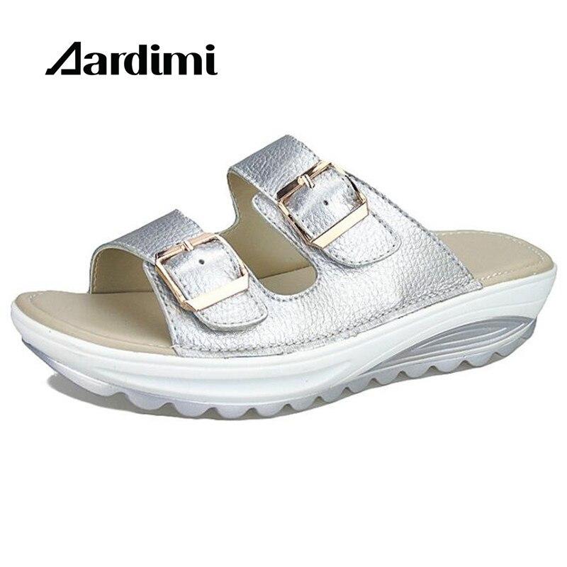2017 Top Quality Summer Women Sandals Buckle Genuine Leather Air Platform Shoes Women Wedges Sandals Gladiator