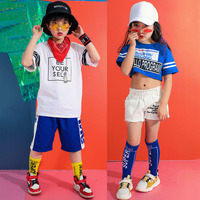 Kids Printing Dance Costume Blue White Hiphop Rave Outfit Boys Girls Jazz Performance Clothing Street Dance Practice Wear DC2177